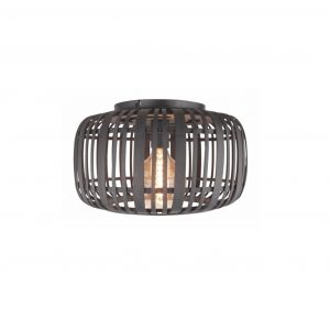Macca Plafondlamp 40 cm rotan zwart